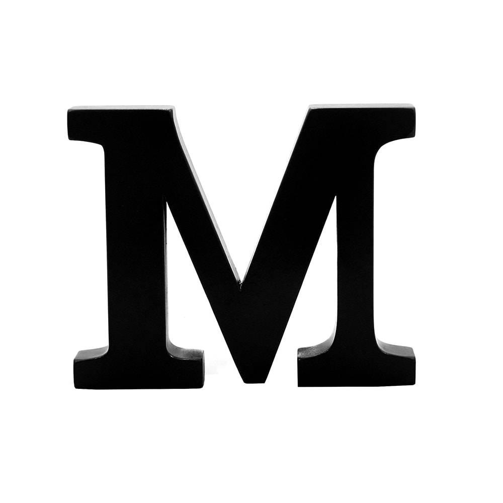 Letra M Decorativa Preta em MDF - 23,2x19 cm