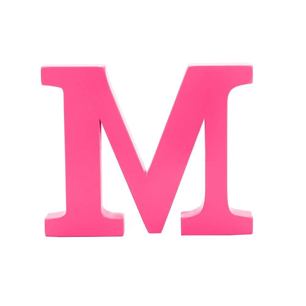 Letra M Decorativa Rosa Pink em MDF - 23,2x19 cm