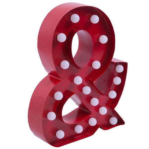 Letra Poá Vermelho/Branco em Metal - 30x23 cm