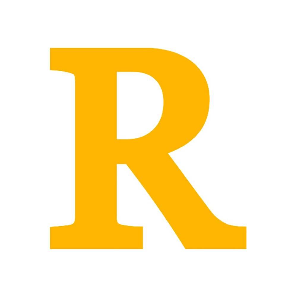 Letra R Decorativa Amarela em MDF - 19x18,5 cm