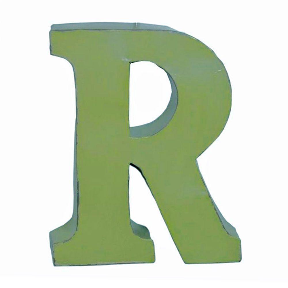 Letra R Decorativa Verde em Metal - 38x31 cm