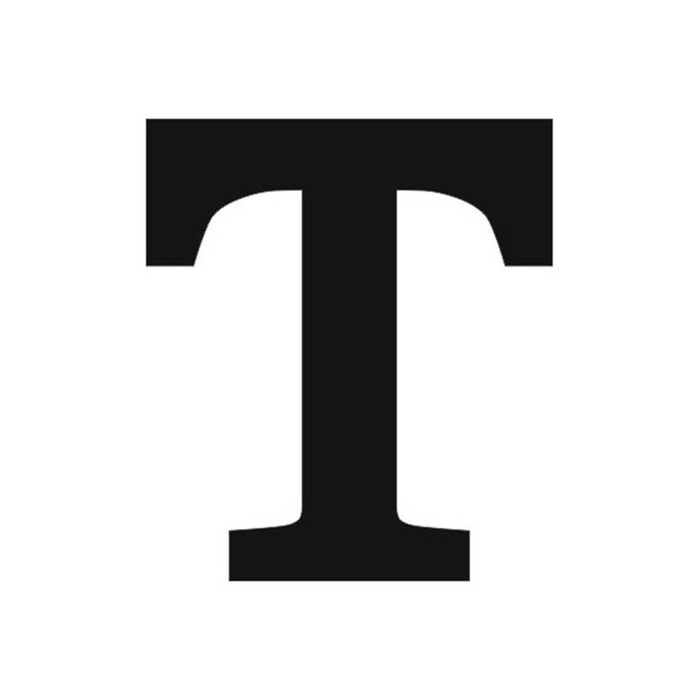 Letra T Decorativa Preta em MDF - 19x16,7 cm