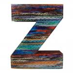 Letra Z Decorativa de Parede Listrado em Tecido - 26x21,7 cm