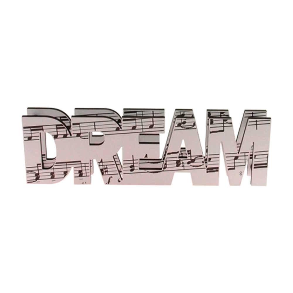 Letreiro Decorativo Dream Estampa Notas Musicais Branco em MDF - 42x10 cm
