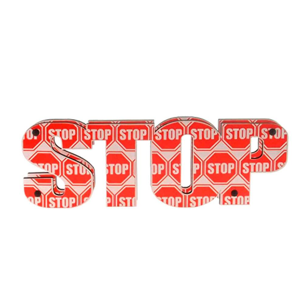 Letreiro Duplo Stop Vermelho e Branco em MDF - 30x9 cm