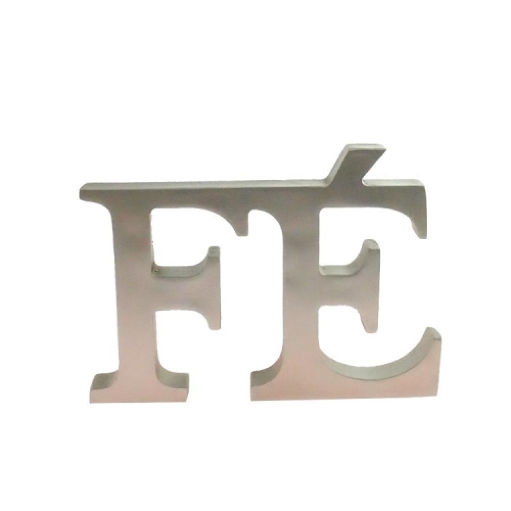 Letreiro FÉ prata