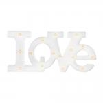 Letreiro Love com LED Branco em Polipropileno - 52x24 cm