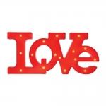 Letreiro Love com LED Vermelho em Polipropileno - 52x24 cm