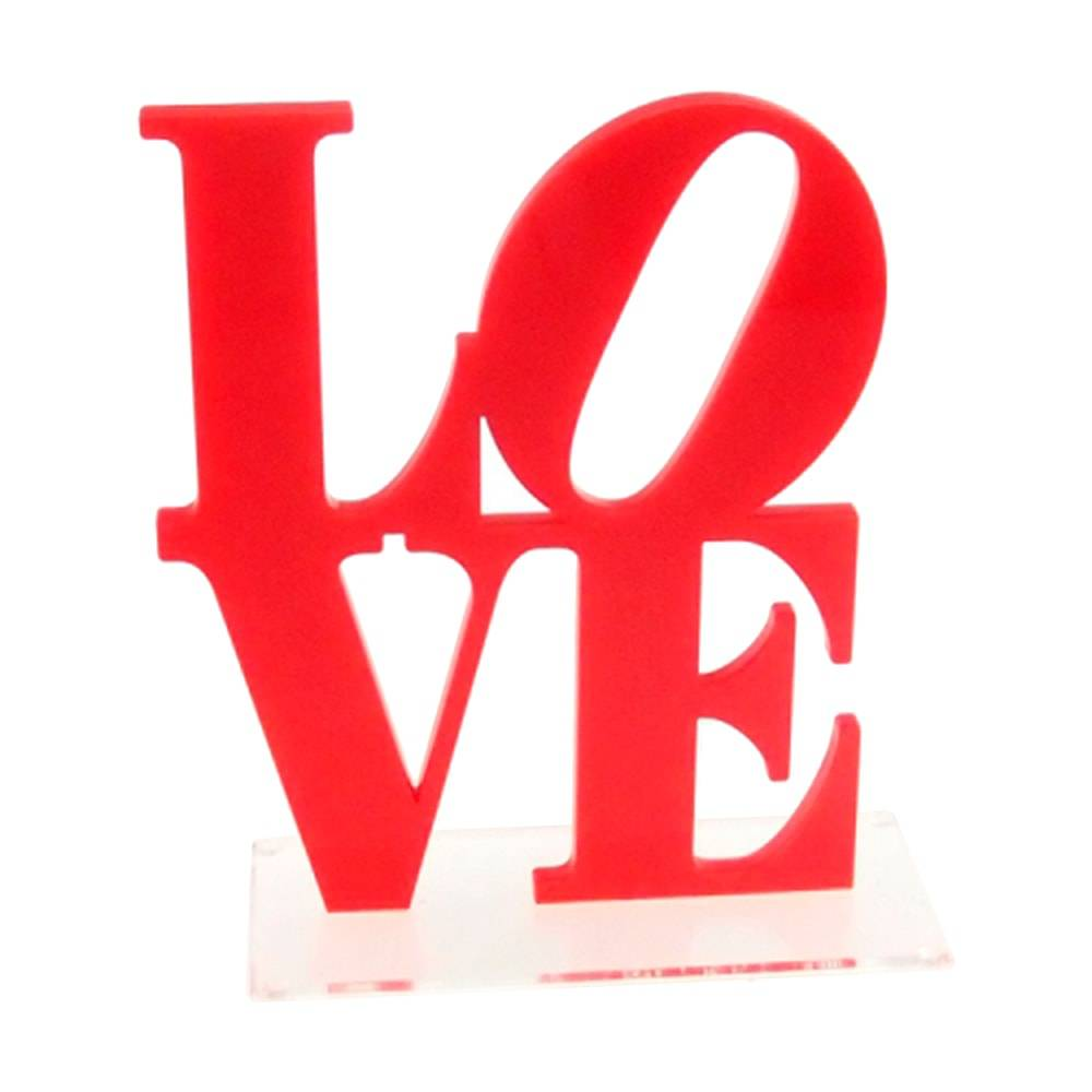 Letreiro Love Vermelho com Base Transparente em Acrílico - 20x15 cm