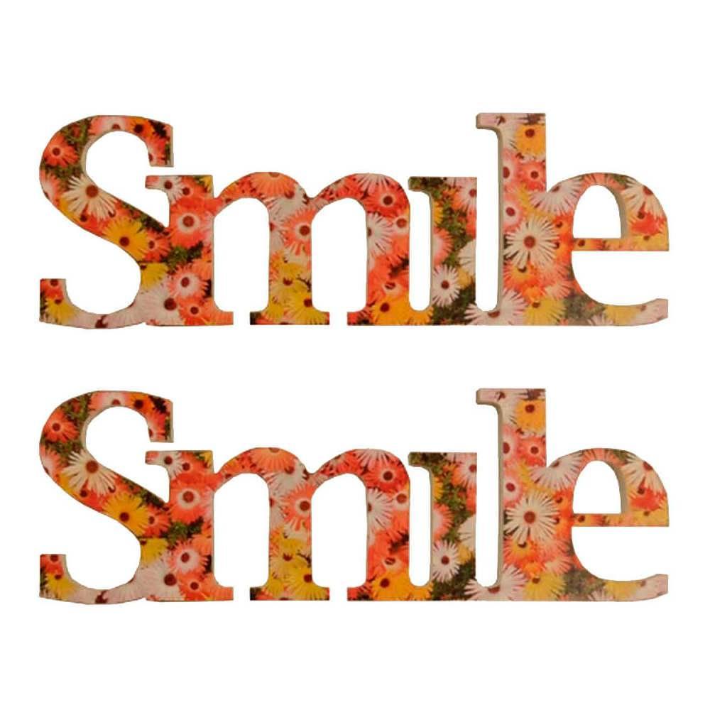 Letreiro Smile Floral Colorido - 2 Peças - em Madeira - 35x13 cm