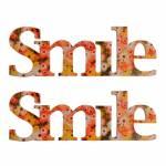 Letreiro Smile Floral Colorido 2 Peças em Madeira - 35x13 cm