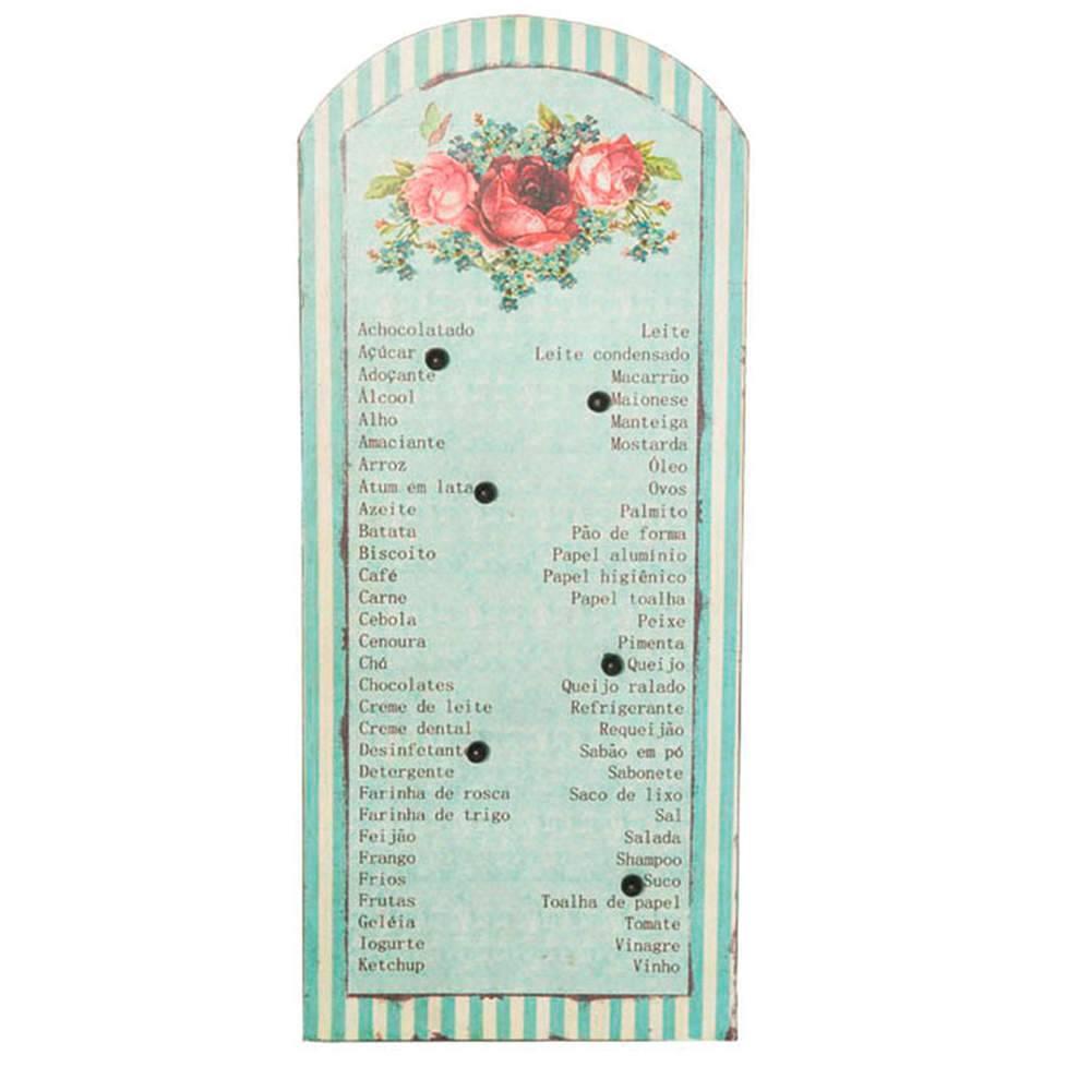 Lista de Compras Com 6 Pins Paris Flowers em Metal Magnético - Urban - 41x17,5 cm