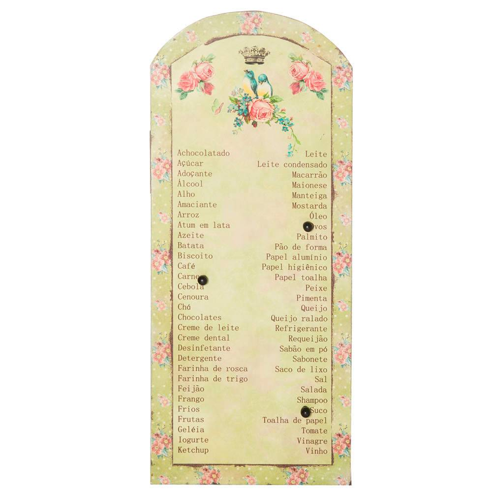 Lista de Compras Magnética com 6 Pins Paris Little Flowers em Metal - Urban - 40x18 cm