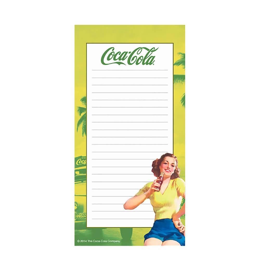 Lista de Compras Magnético Coca-Cola Pin Up Brown Lady Amarelo - Urban - 20x10 cm