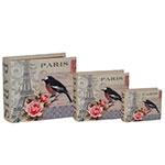 Livro Book Box Conjunto 3 Peças Paris Bird Oldway - 23x20x8cm