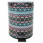 Lixeira Asteca Colorida com Pedal em Metal - 5 Litros - 27x20,5 cm