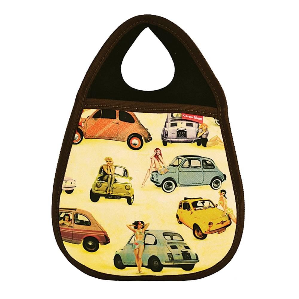 Lixeira para Carro Pinup 500 - Carpe Diem - Preta/Amarelo em Neoplex - 29x21 cm