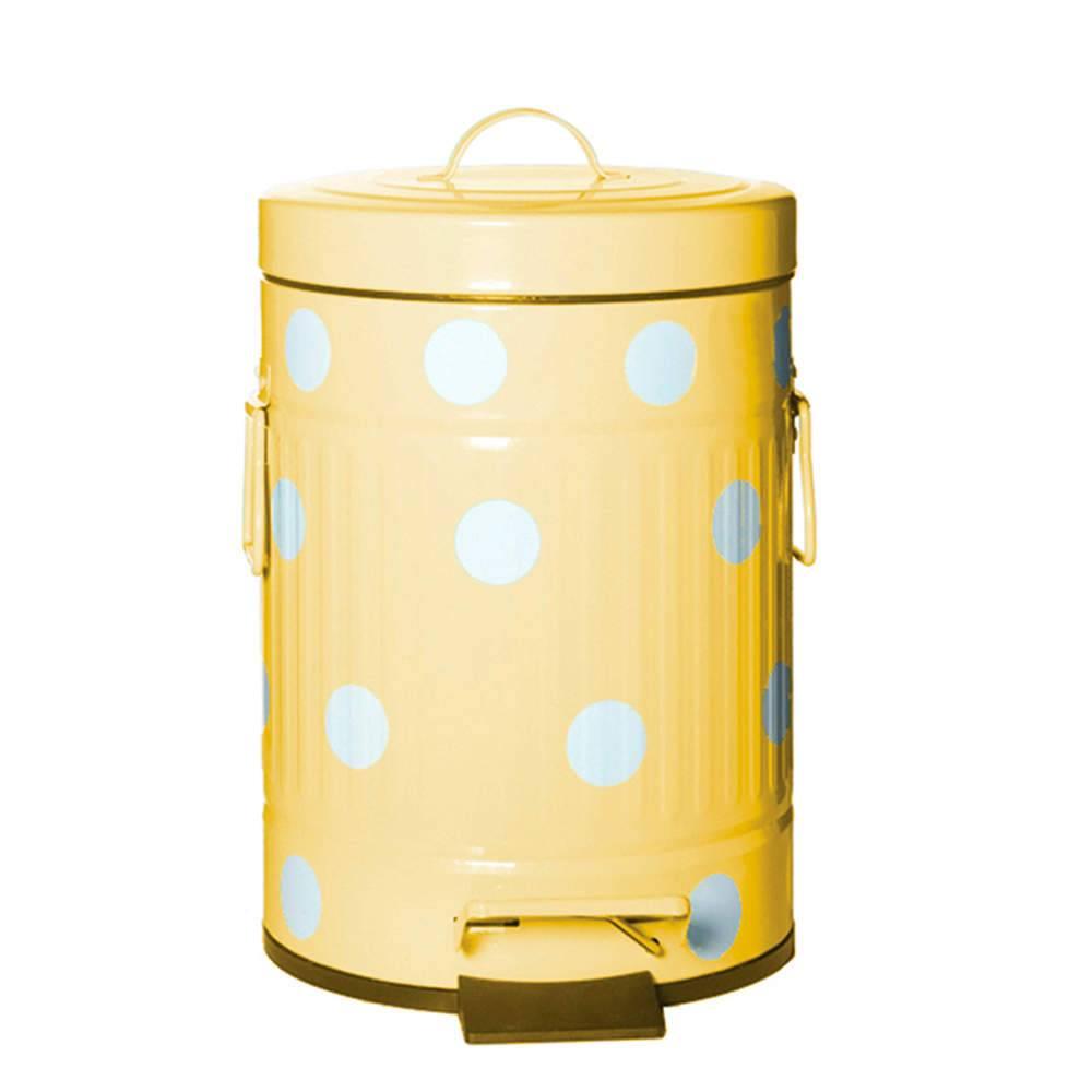 Lixeira Cute Dots Poás Amarela com Pedal em Metal - 12 Litros - 44x24,5 cm