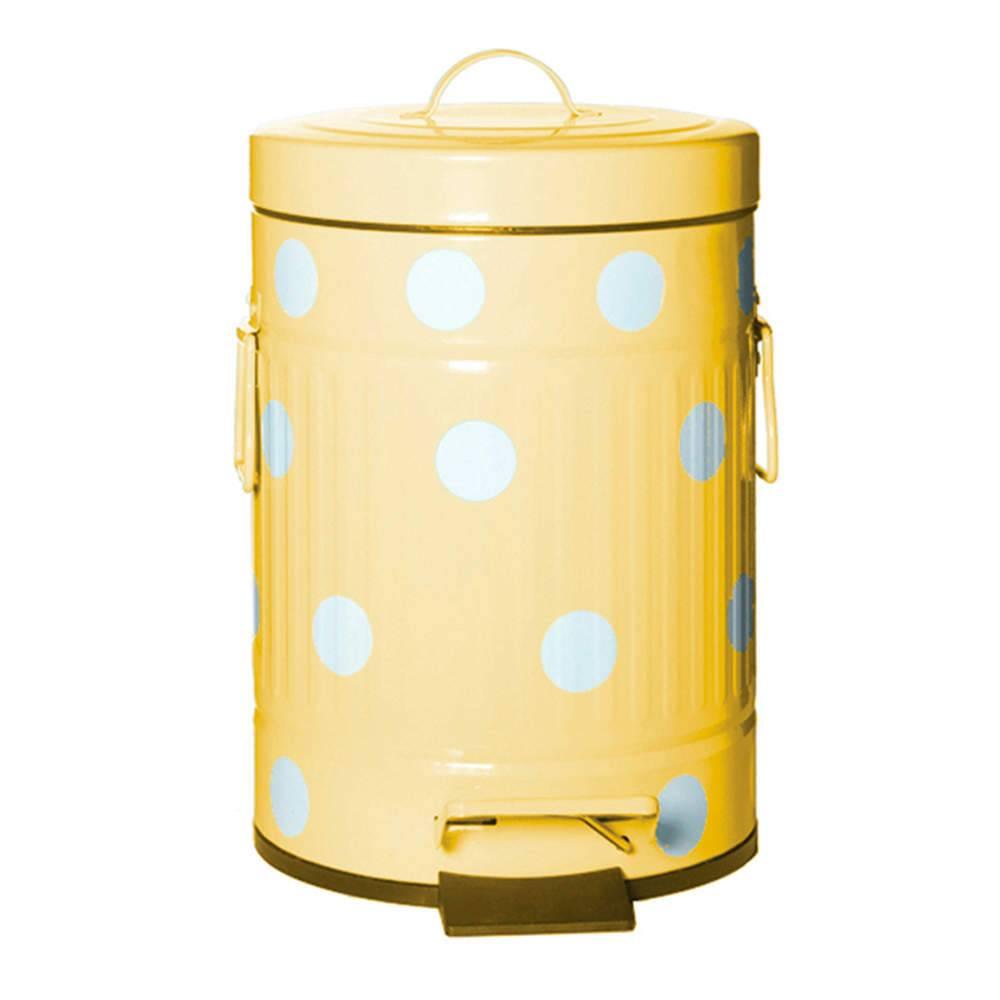 Lixeira Cute Dots Poás Amarela com Pedal em Metal - 5 Litros - 31x20 cm