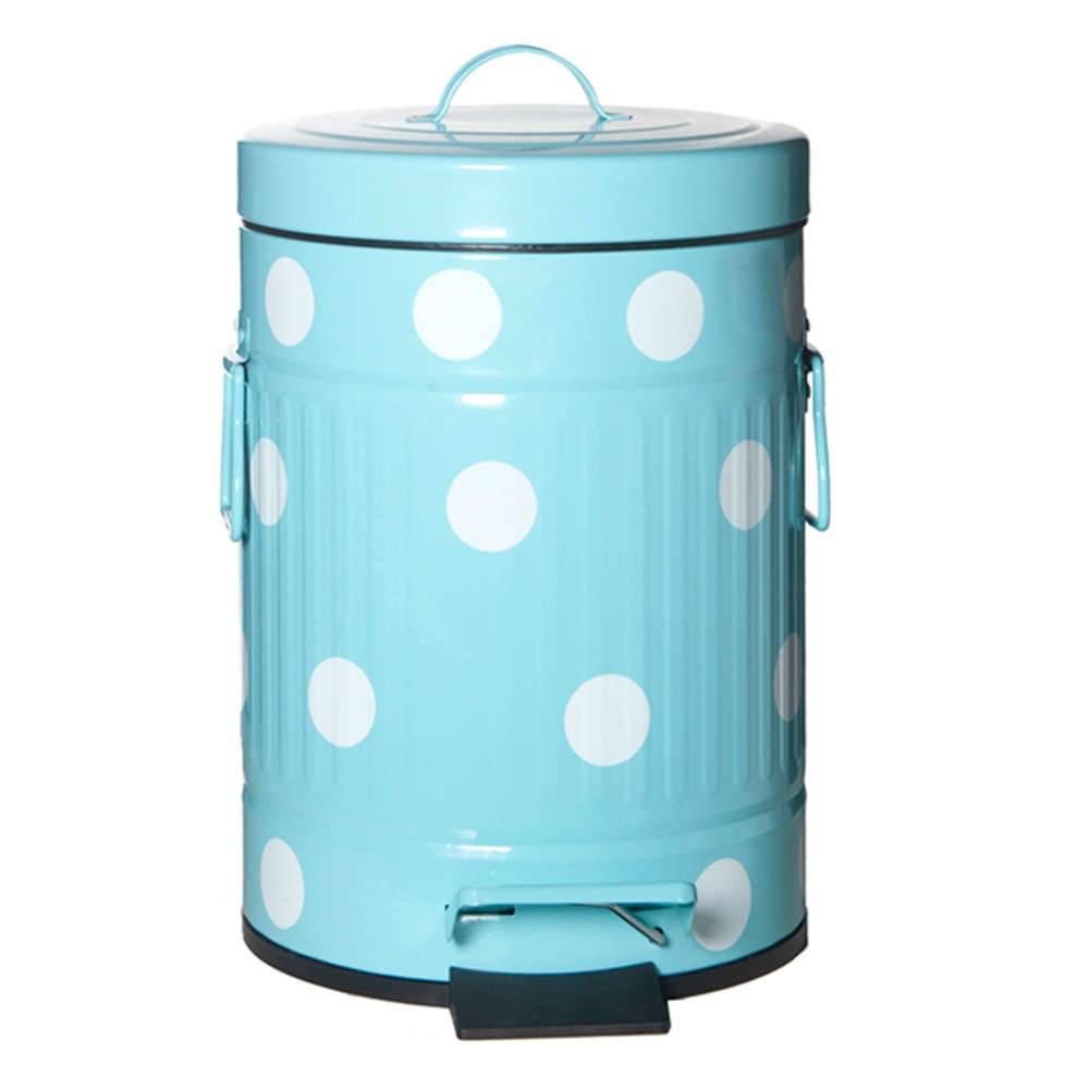 Lixeira Cute Dots Poás Azul com Pedal em Metal - 12 Litros - 44x24,5 cm