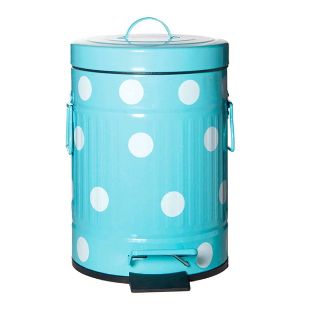 Lixeira Cute Dots Poás Azul com Pedal em Metal - 5 Litros - 31x20 cm