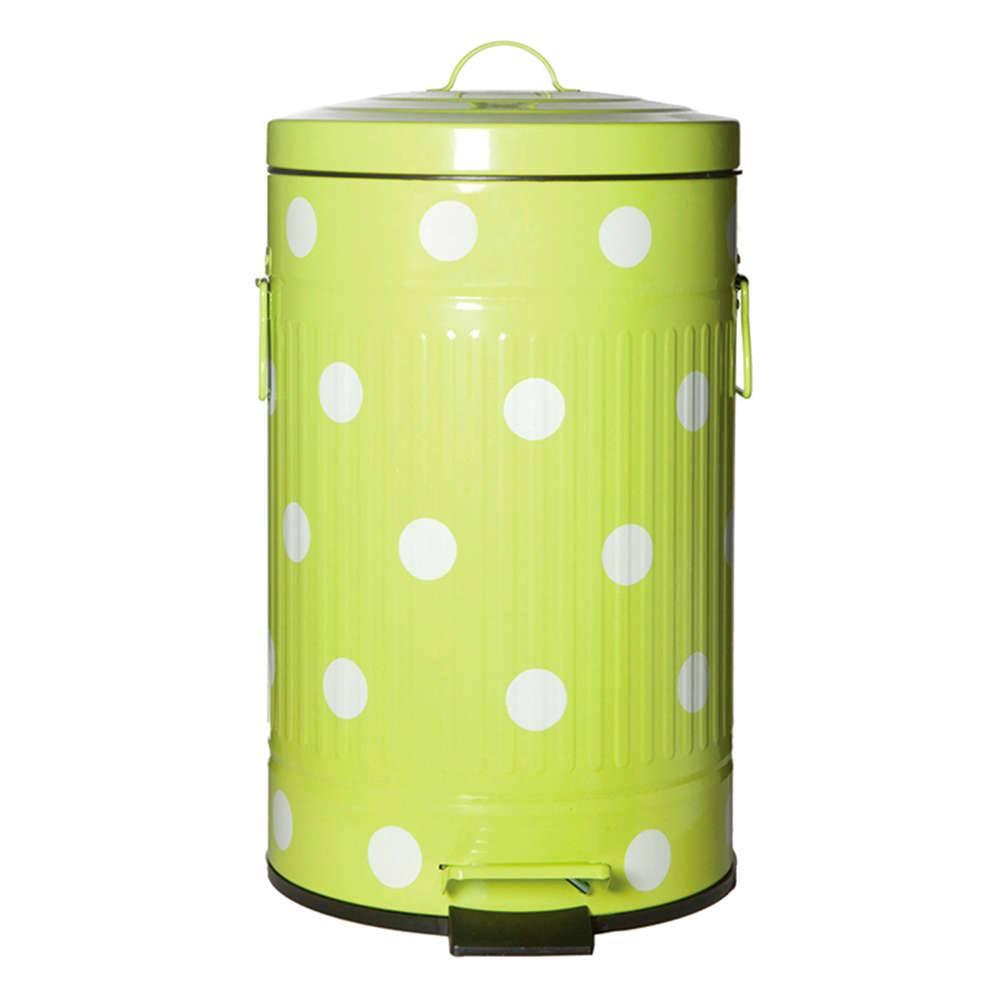 Lixeira Cute Dots Poás Verde com Pedal em Metal - 12 Litros - 44x24,5 cm