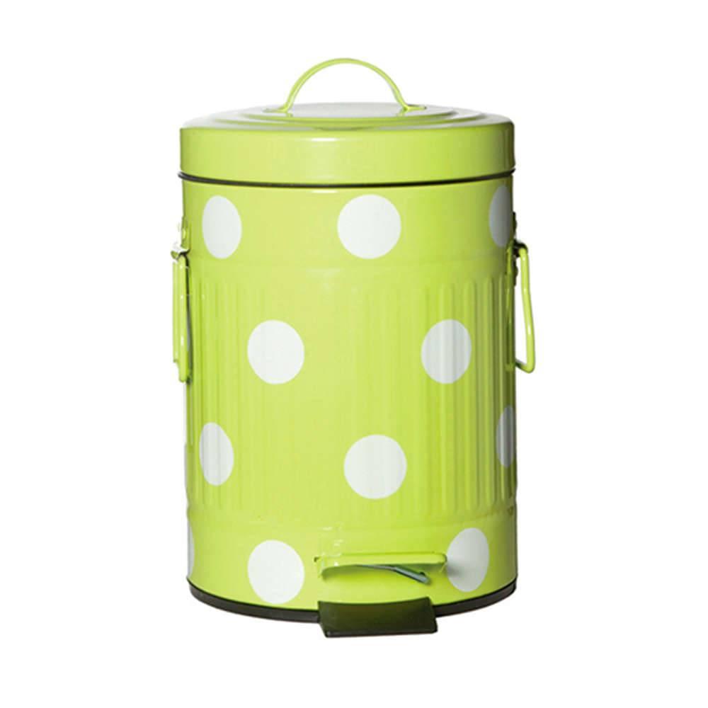 Lixeira Cute Dots Poás Verde com Pedal em Metal - 3 Litros - 26x16,5 cm