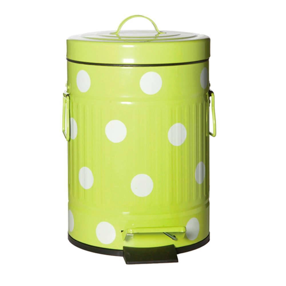 Lixeira Cute Dots Poás Verde com Pedal em Metal - 5 Litros - 31x20 cm