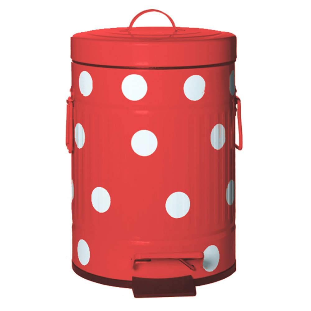 Lixeira Cute Dots Poás Vermelha com Pedal em Metal - 12 Litros - 44x24,5 cm
