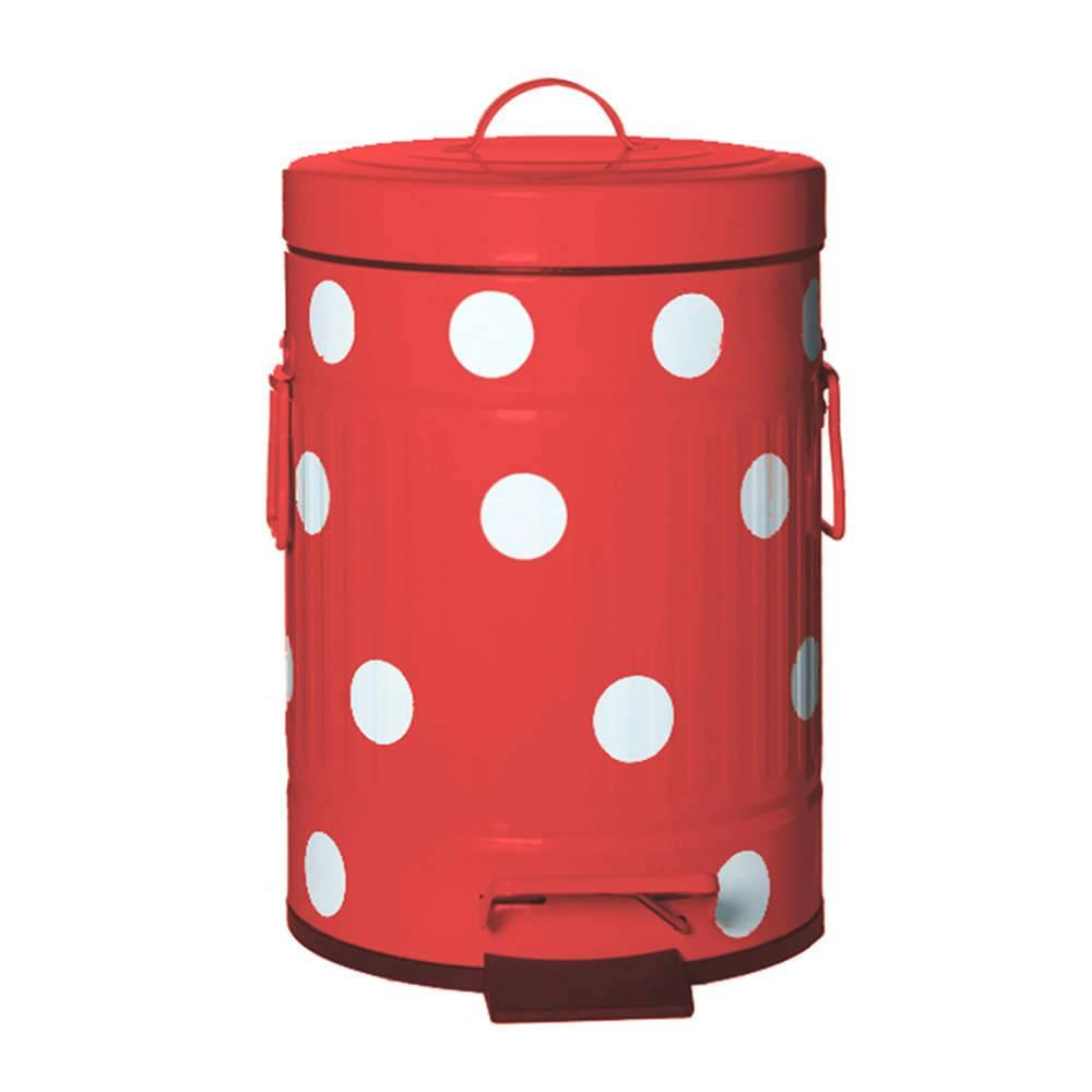 Lixeira Cute Dots Poás Vermelha com Pedal em Metal - 3 Litros - 26x16,5 cm