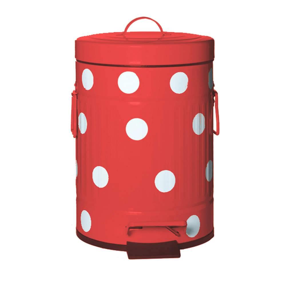 Lixeira Cute Dots Poás Vermelha com Pedal em Metal - 5 Litros - 31x20 cm