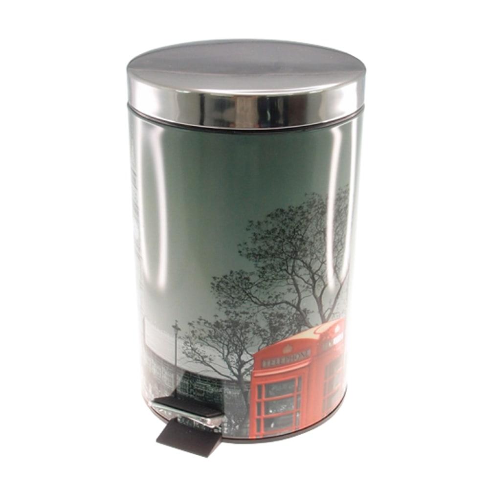 Lixeira Londres Cabine Telefônica Prata - 5 litros - em Metal - 27x20 cm