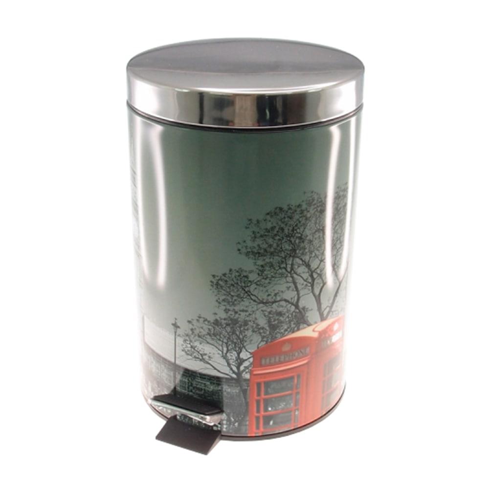 Lixeira Londres Cabine Telefônica Prata - 7 litros - em Metal - 33x20 cm