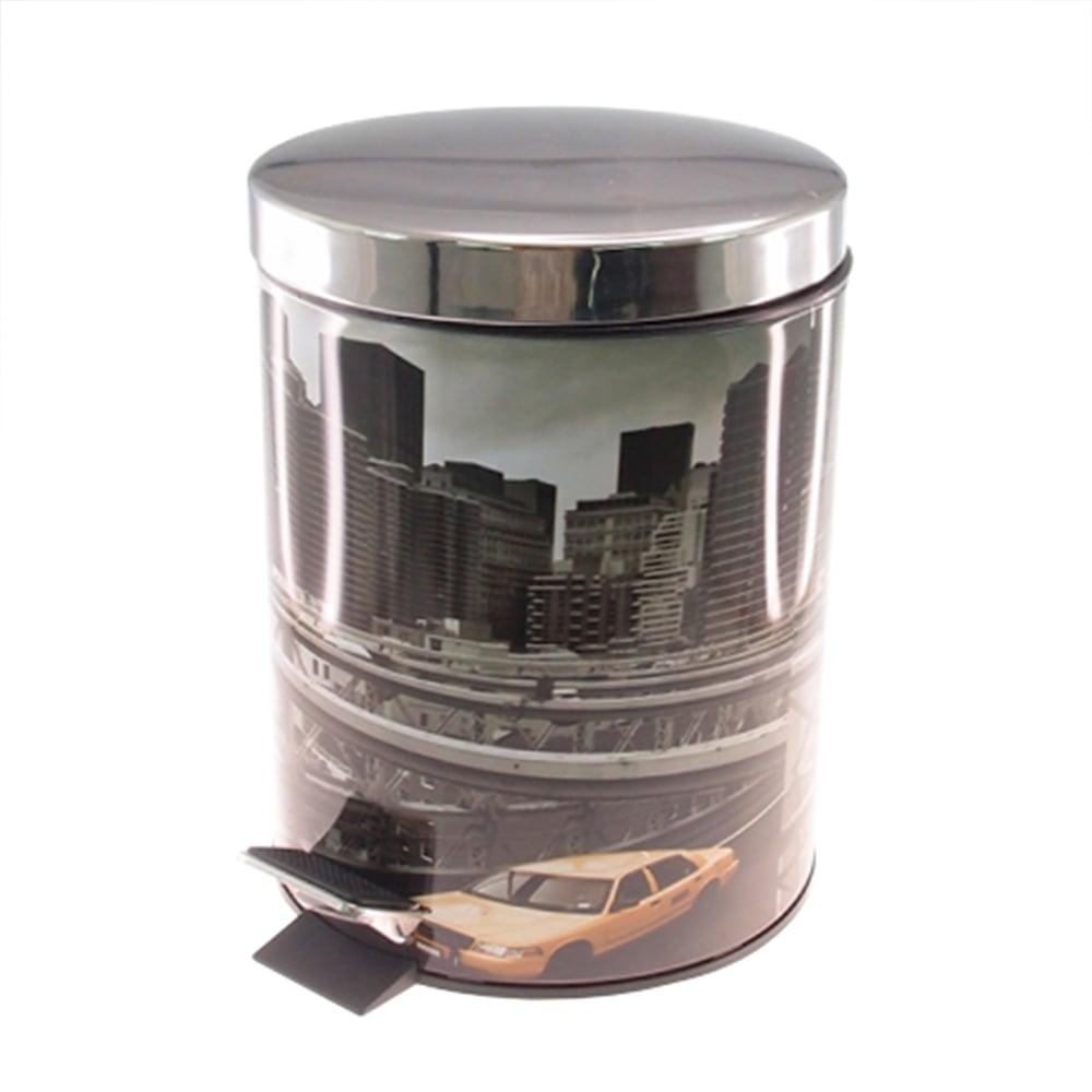 Lixeira Nova York Prata - 7 litros - em Metal - 33x20 cm
