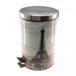 Lixeira Paris Prata - 5 Litros - em Metal - 27x20 cm