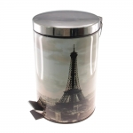Lixeira Paris Prata - 7 Litros - em Metal - 33x20 cm