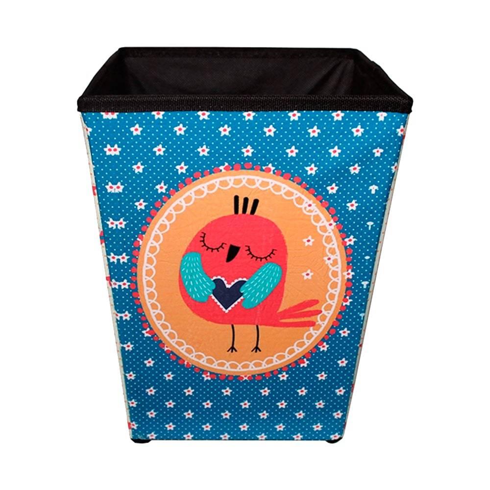 Lixeira Pássaro Florestinha Colorida Revestida em Tecido - 30x21 cm