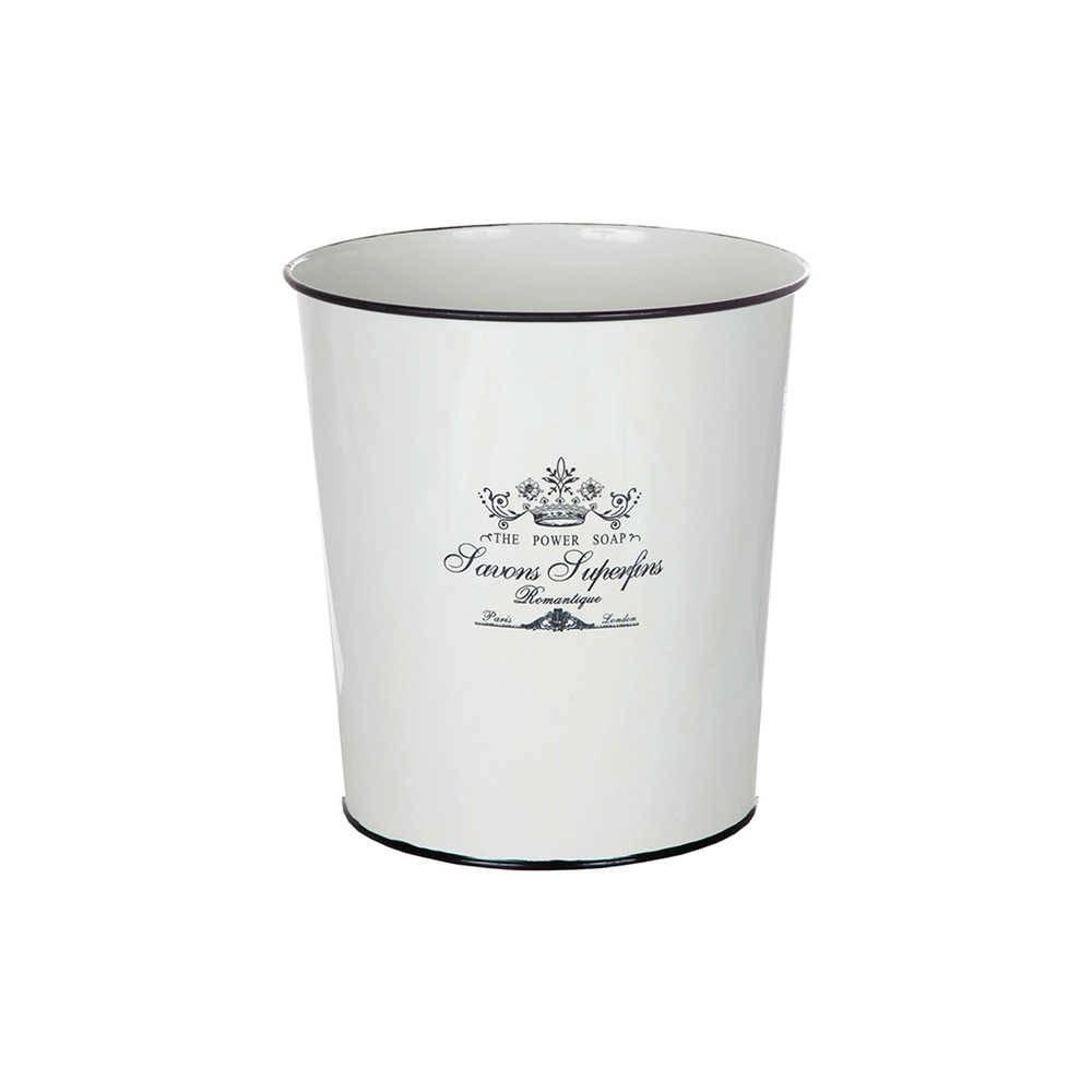 Lixeira Savon Romantique Branco em Metal - Urban - 21,5 cm