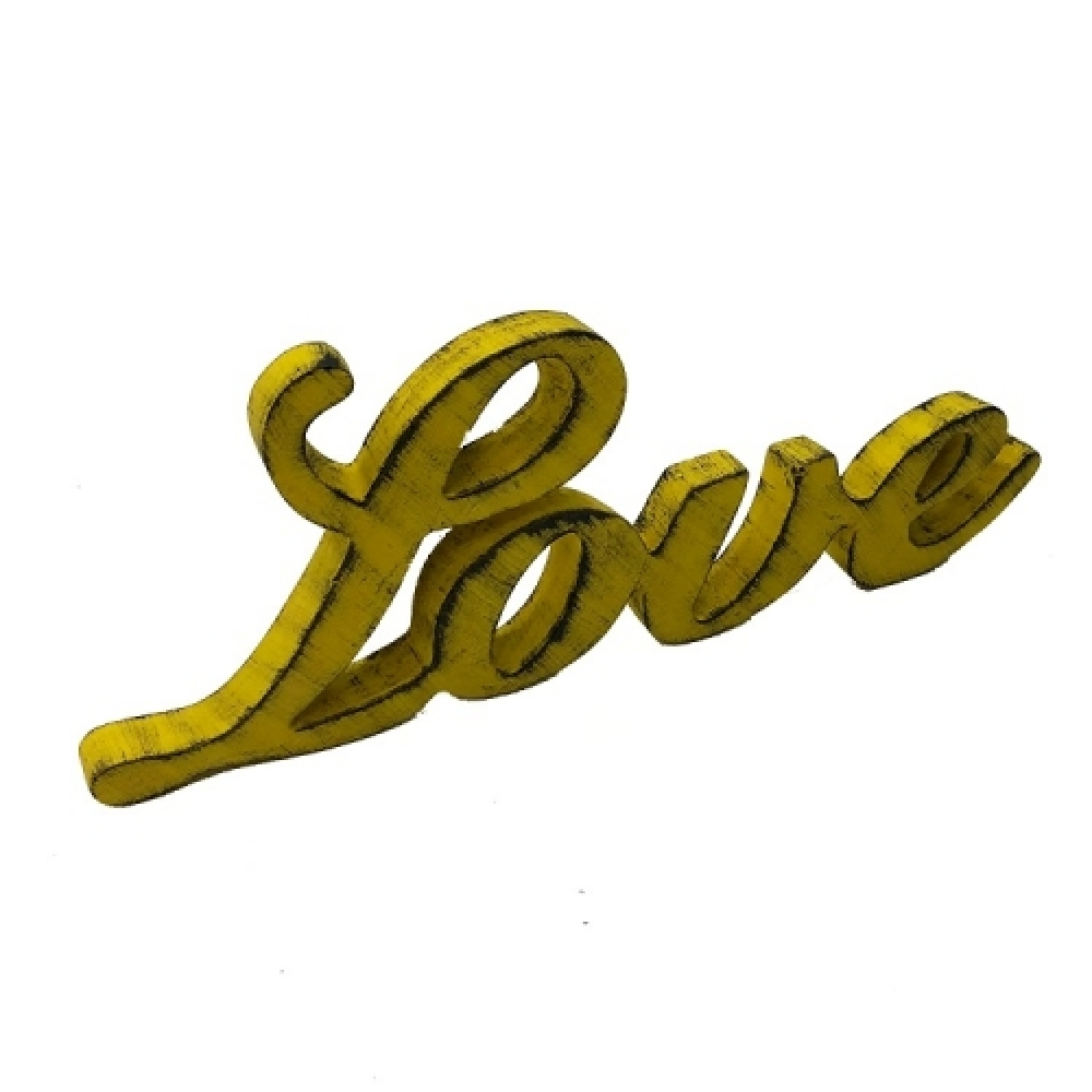 LOVE caligrafia amarelo