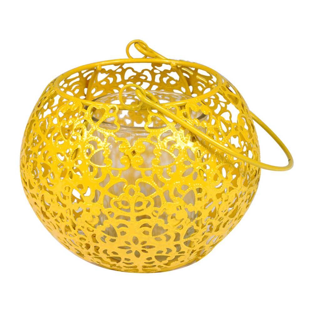 Lanterna Basket Amarelo em Metal e Vidro - Urban - 16,5x11 cm