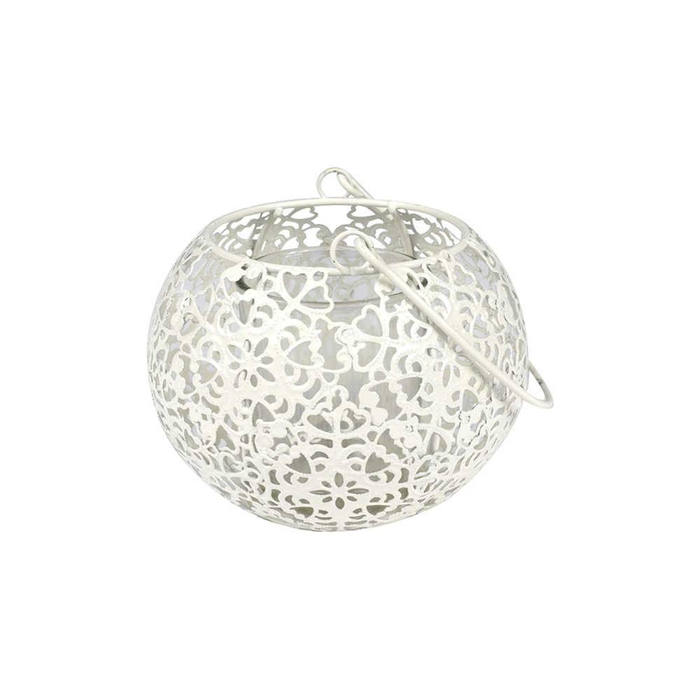 Lanterna Basket Branco em Metal e Vidro - Urban - 16,5x11 cm
