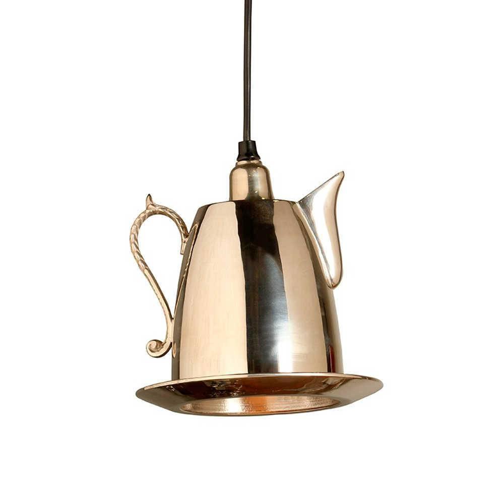 Luminária Bule Finley Cromado em Metal - 21x20 cm