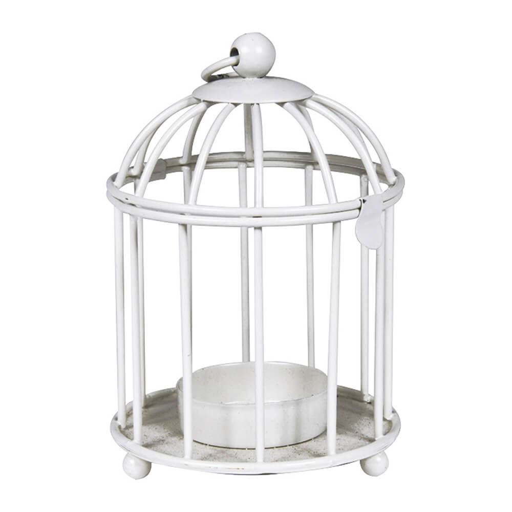 Lanterna Cage Branco em Metal - Urban - 12x8 cm