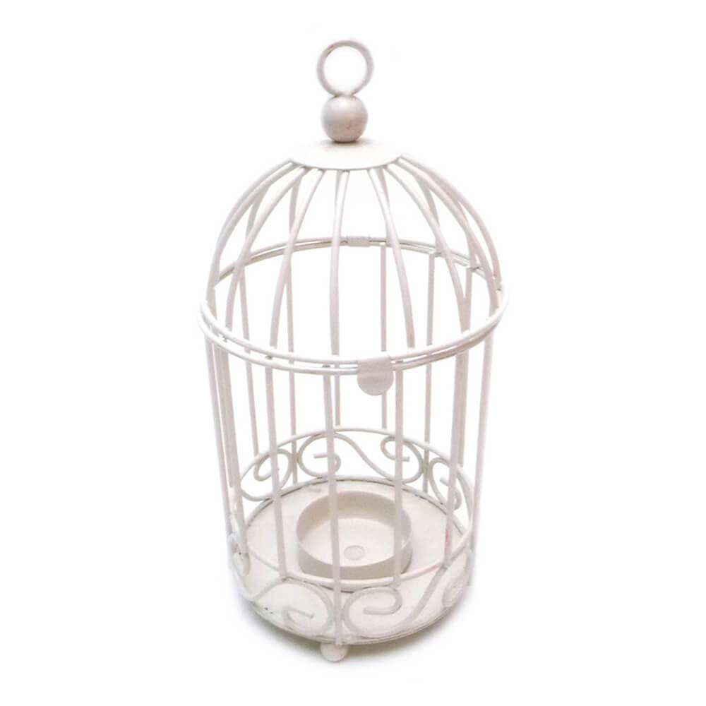 Lanterna Cage Branco em Metal - Urban - 19,5x10 cm