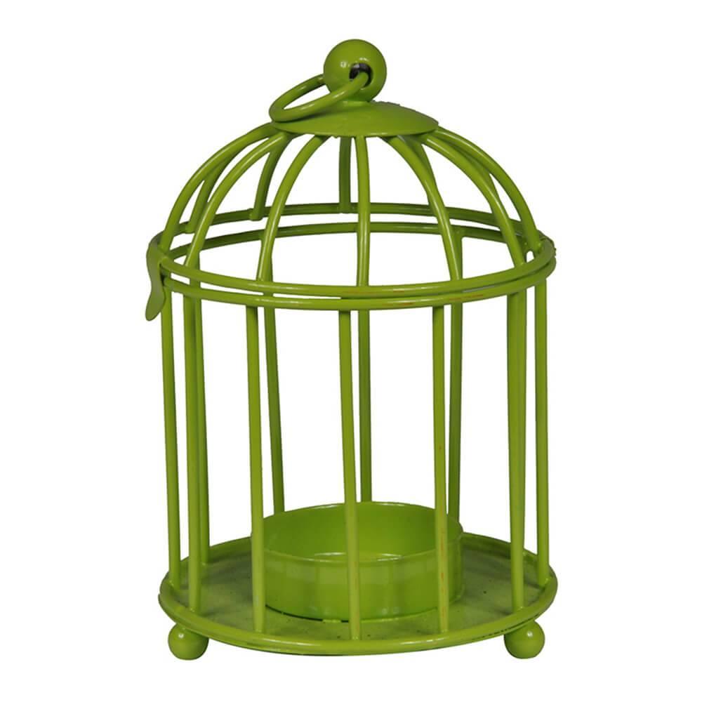 Lanterna Cage Verde em Metal - Urban - 12x8 cm