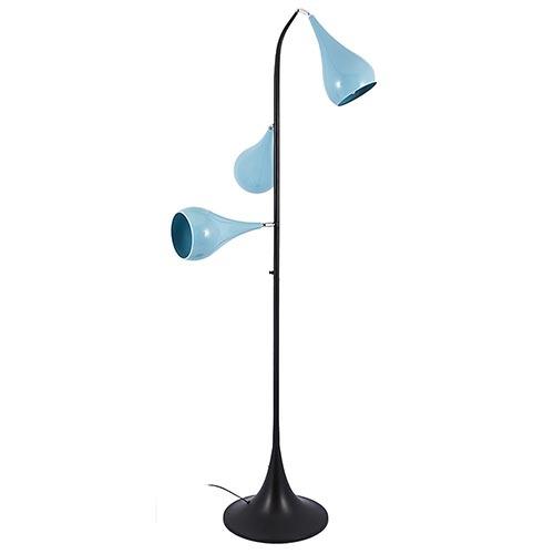 Luminária de Chão c/ 3 Cúpulas Azul Claro Fullway - 165x50 cm