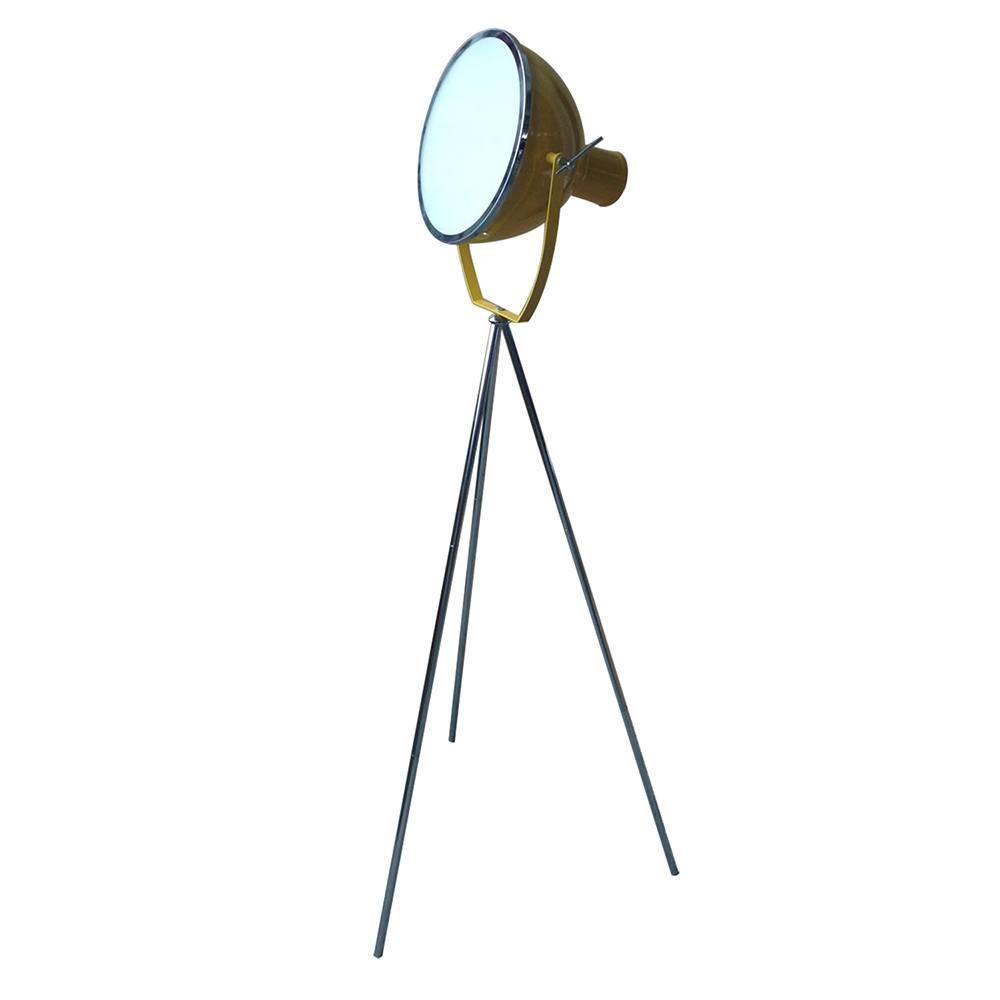 Luminária de Chão Tripé Spotlight Amarela Brilhante em Metal - Urban - 150x30 cm