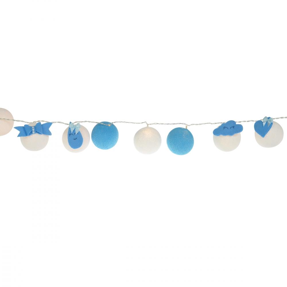 Luminária Decorativa Kit Gotas e Nuvens Azul - À pilha