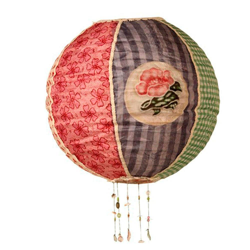 Luminária Decorativa Oriental Balloon Colorida em Tecido - 40x38 cm