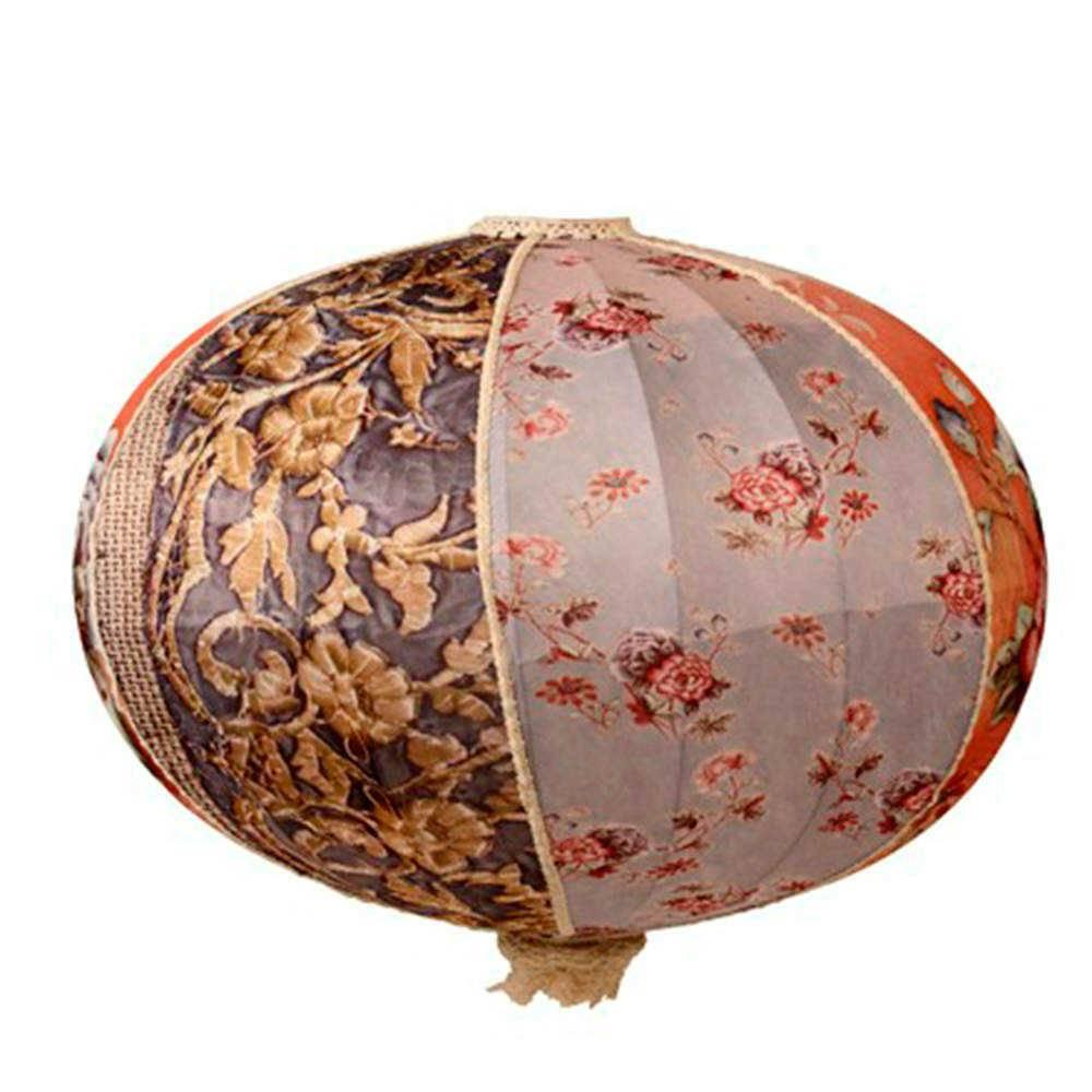 Luminária Decorativa Oriental Mix de Flores em Tecido - 50x46 cm